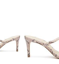 Sandália Mule com Salto Couro Rosa