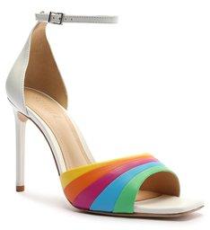 Sandália Salto Couro Rainbow Branca