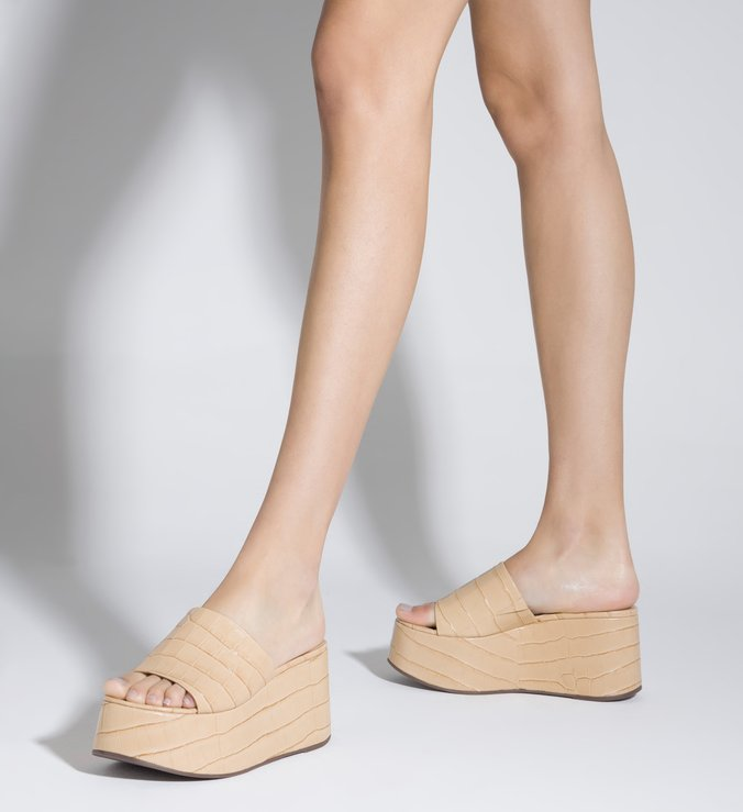 Sandália Tamanco Plataforma Croco Nude