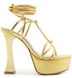 Sandália Meia Pata Lace-Up Gold
