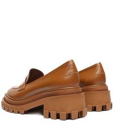 Sapato Mocassim Tratorado Couro Triangle Caramelo