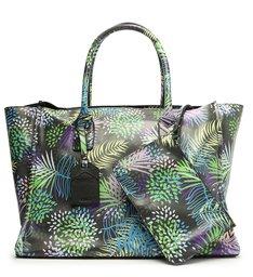 Bolsa Shopping Grande Agnes Couro Estampa Verde
