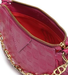 Bolsa Tiracolo Baguette Emblem Couro Pink