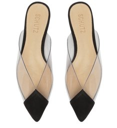 Sapato Mule Vinil Transparente Preto
