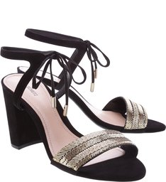 Sandália Lace Block Heel Black