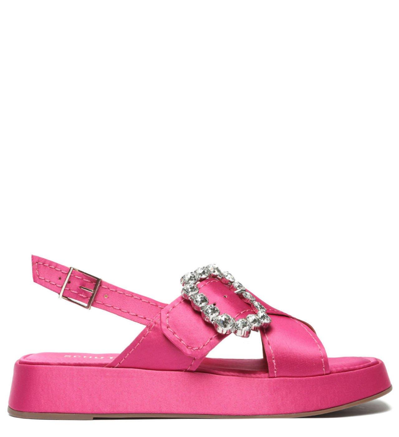 Sandália Flatform Cetim Pink | Schutz