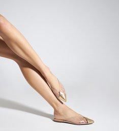 Sapato Mule Vinil Transparente Dourado
