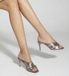Sandália Mule Texturas Prata