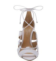 Sandália Bico Folha Lace-Up White