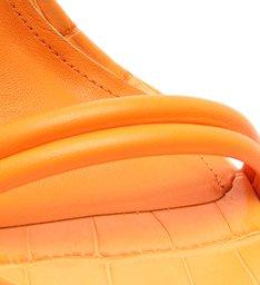Sandália Salto Bloco Alto Croco Tiras Laranja