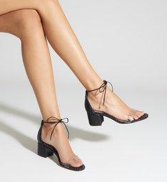 Sandália Block Heel Snake Paetê Black