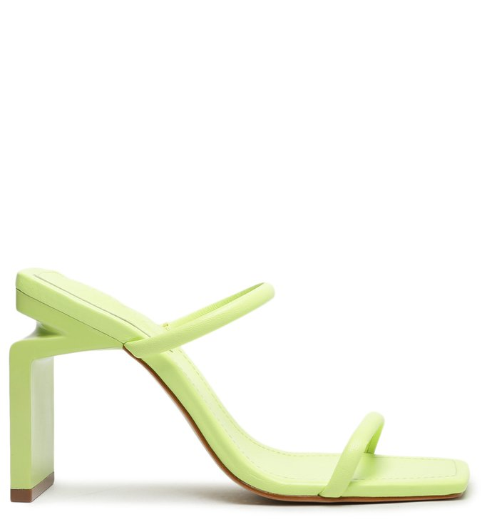 [Pre-Order] Sandália Mule Salto Alto Kattie Couro Verde Neon