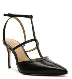 Sapato Scarpin Couro Tiras Preto