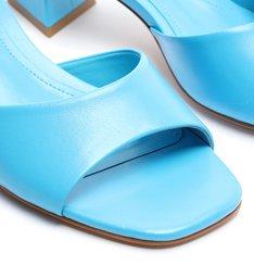 Sandália Mule Salto Baixo Triangle Lizah Couro Azul