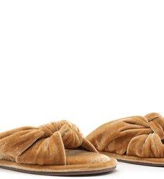 Homewear Flat Flip Flop Sarah Velvet Açafrão