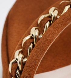 Sandália Anabela Nobuck Texture Wood