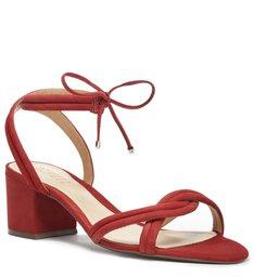 Sandália de Salto Camurça Amarração Vermelha