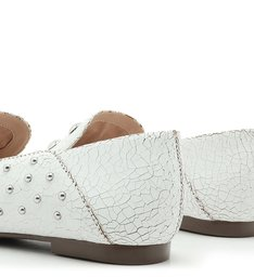MOCASSIM STUDS CRACKED WHITE