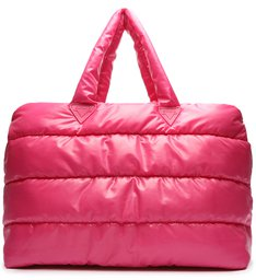 Bolsa Shopping Grande Fluffy Nylon Pink Neon