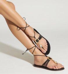 Sandália Strings Glam Lace-Up Black