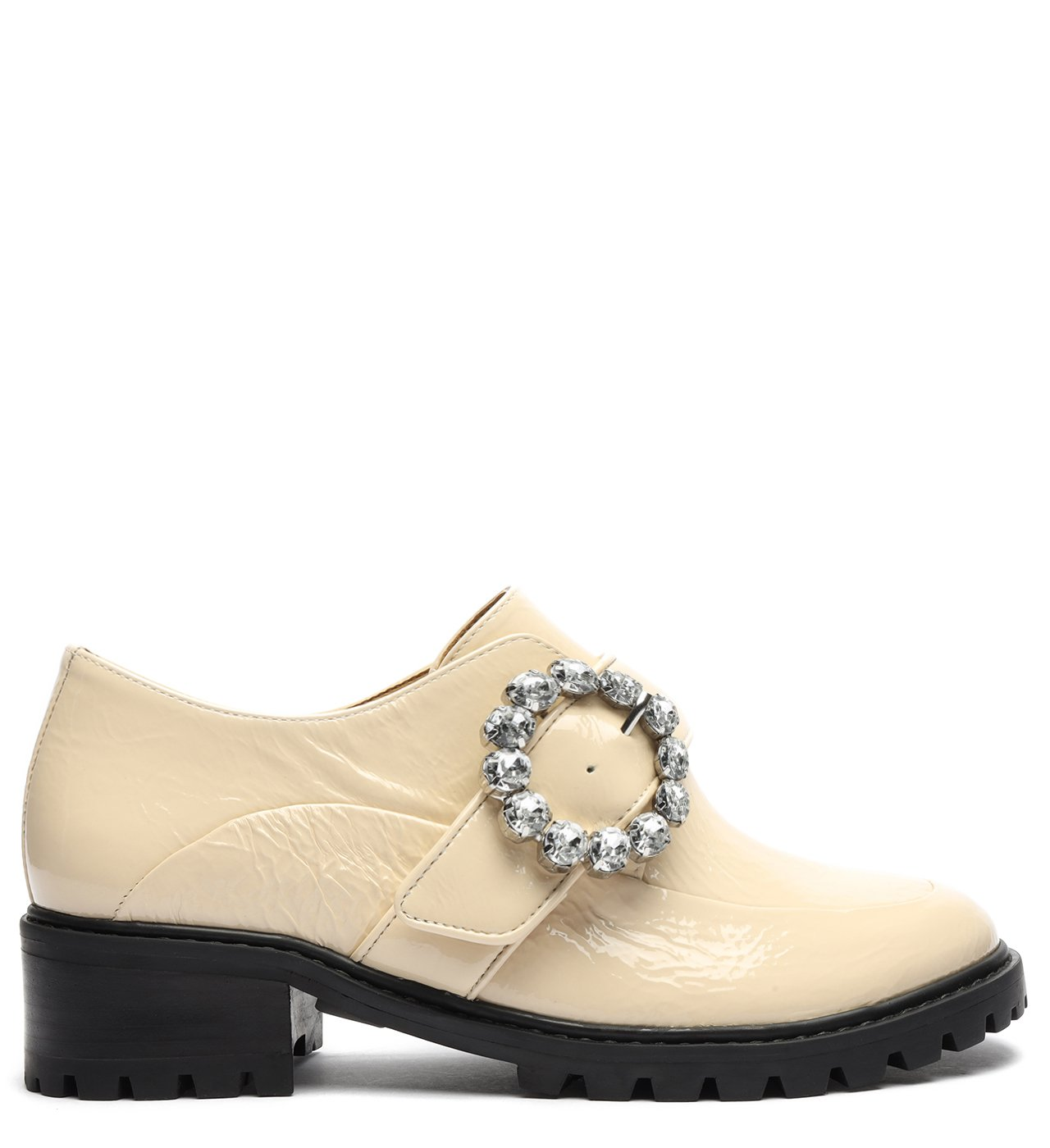 Sapato Oxford Tratorado Verniz Fivela Creme | Schutz