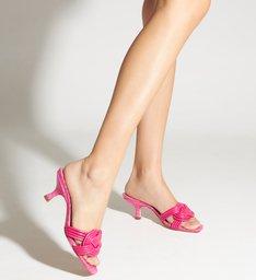 Mule Kitten Heel Trança Pink