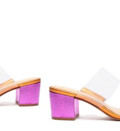 Sandália Mule Salto Bloco Vinil Metalizada Rosa