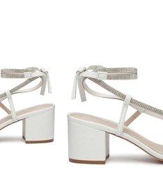 Sandália de Salto Camurça Amarração Preta