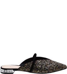 Flat Mule Glitter Arc Black
