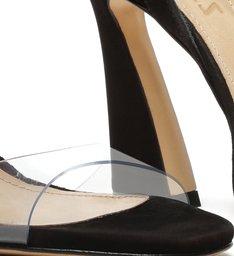Sandália Salto Arquitetônico Vinil Preta
