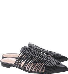 Flat Mule Natural Stripes Black