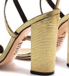 Sandália Salto Lezard Gold