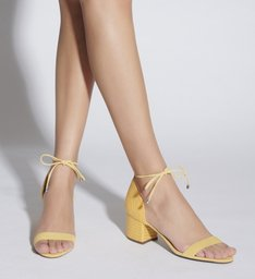 Sandália Salto Bloco Tressê Amarela