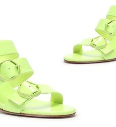 Sandália Mule Buckles Verniz Neon