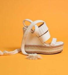 Sandália Anabela Natural Mix White