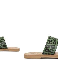 Sandália Rasteira Slide Couro Animal Print Verde e Roxa