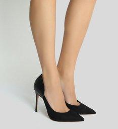 Sapato Scarpin Nobuck Snake Preto