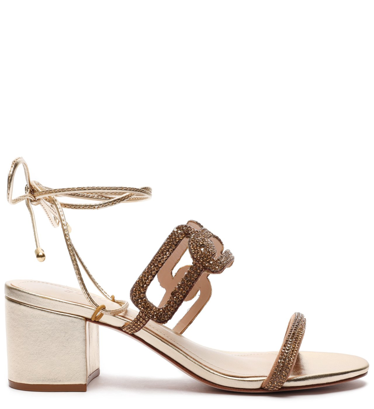 Sandália Block Heel Glam Baroque Gold | Schutz