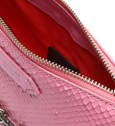 Bolsa Tiracolo Baguette Pequena Emmy Snake Rosa