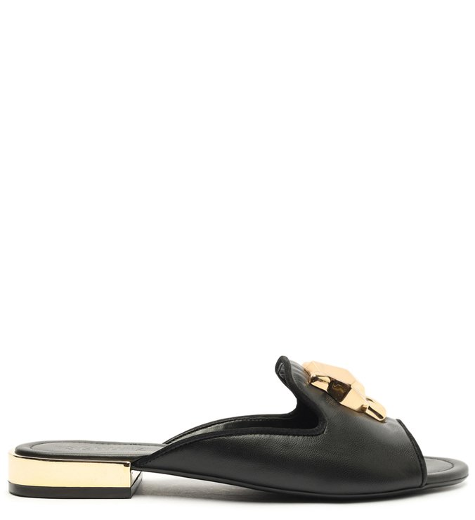 Sapato Mule Baixo Aberto Couro Preto Panther
