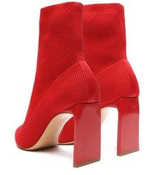 Bota Cano Médio Knit Vermelha