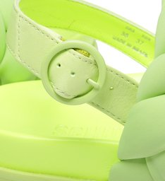 Sandália Papete Flatform Nylon Trança Verde