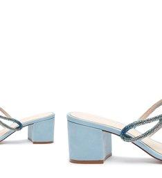 Sandália Mule Block Heel Glam Blue