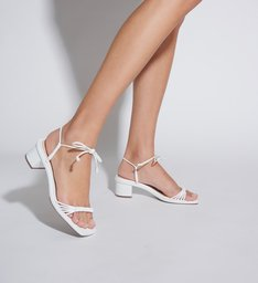 Sandália Block Heel Strings White