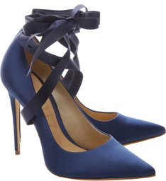 Scarpin Lace Up Satin Dress Blue
